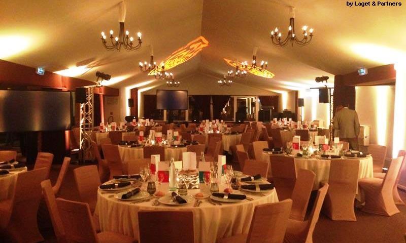 Soirée NEC au Park Lenôtre - Mougins - diner - remise de prix - Laget & Partners - éclairage leds et automatique - diffusion audio - materiels audiovisuelle-aucop