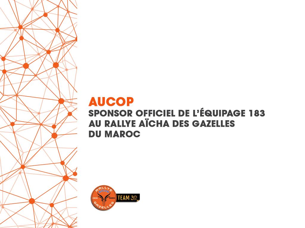 AUCOP, sponsor officiel de l'équipage 183 au Rallye Aïcha des Gazelles du Maroc